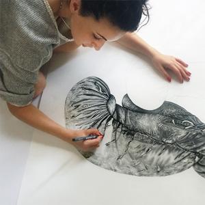 Yelena York Working on Artwork