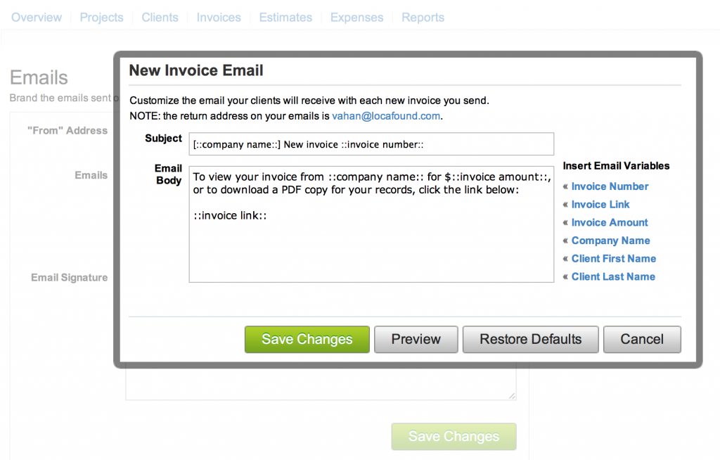 Email Templates And Late Payment Reminders Servicejoy - Invoice email to client